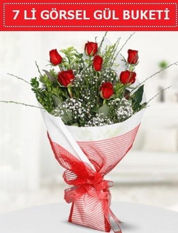 7 adet kırmızı gül buketi Aşk budur  Kütahya anneler günü çiçek yolla
