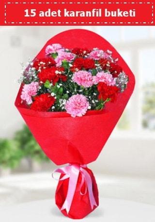 15 adet karanfilden hazırlanmış buket  Kütahya çiçek yolla